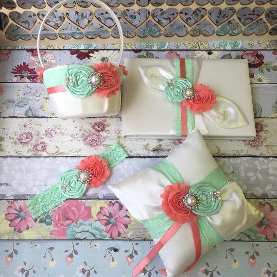 زفاف - Wedding flower girl basket , ring bearer pillow , wedding guest book and keepsake wedding garter set