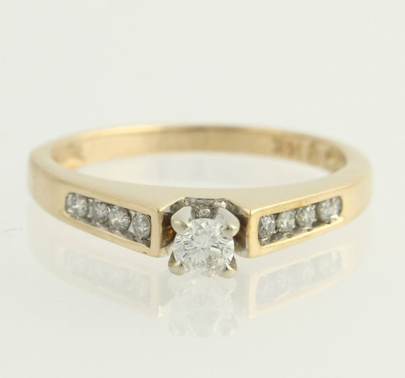 Mariage - Diamond Engagement Ring - 14k Yellow & White Gold Natural .24ctw F5538