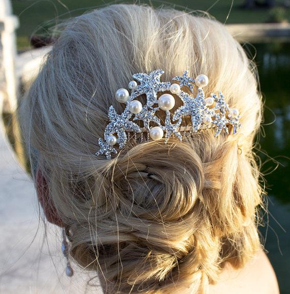 Starfish Ivory Pearl Bridal Hair Accessories Comb Beach Wedding Crystal Rhinestone Headpieces
