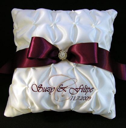 زفاف - Wedding Ring Pillow with Custom Embroidery