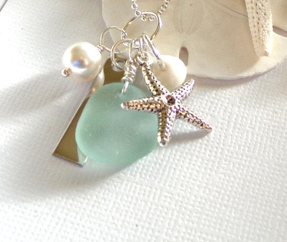 Mariage - Necklaces Sea Glass Jewelry  Starfish Beach Wedding Jewelry Garden LeafSeaside
