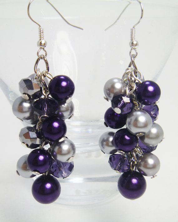 Mariage - Purple and Gray Cluster Earrings, Chunky Earrings, Purple and Gray Wedding Combo, Purple Pearl Jewelry, Purple Earrings, Gray Pearl Earrings