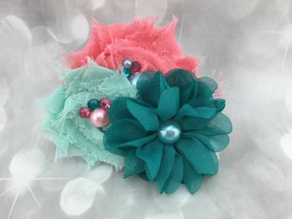 زفاف - Coral and Teal Bow & Pearl Fluffy Floral Pet Collar Flower - Cat Dog Accessory