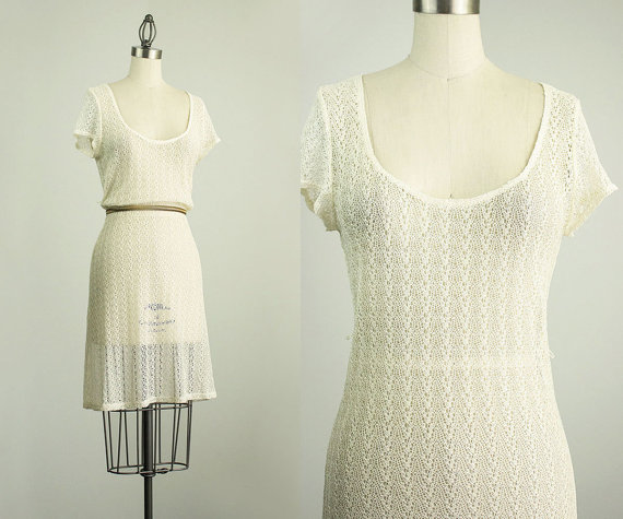 Hochzeit - 90s Vintage Cream Sheer Lace Dress / Size Small