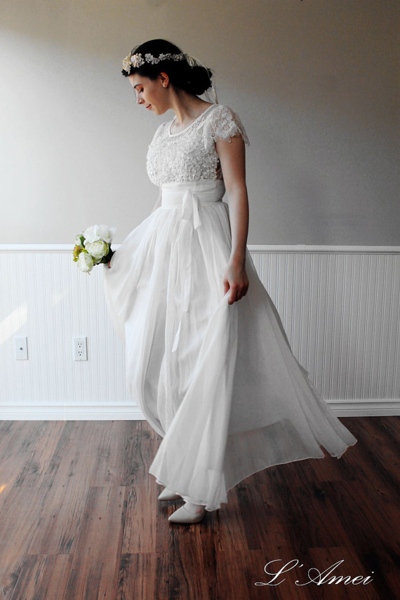 Custom Made Simple Boho White Lace Wedding Dress Great For Beach ...