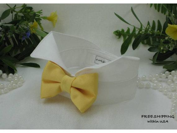 Mariage - Yellow Satin Dog Bow Tie on Wingtip Tuxedo Dog Collar~Dog Tuxedo~~Best Man~Dog Wedding Collar~Ring Bearer~Dog Bowtie~Free Shipping Within US