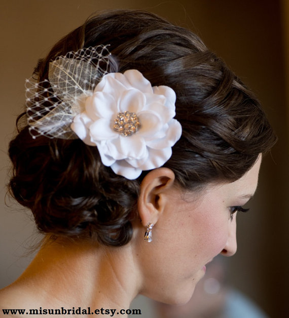 Bridal WHITE HAIR FLOWER With Russian Netting Feathers Rhinestone Or Pearls Flower Hair Clip Pure White