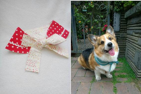 Свадьба - Red polka dot dog Peter Pan collar Reversible pet Peter Pan collar dog bandana with red polka dots and flowers ( size ML)