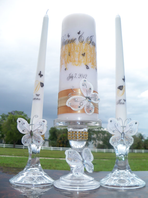 زفاف - Butterfly unity candle set, add you wedding color/s........matching holders included