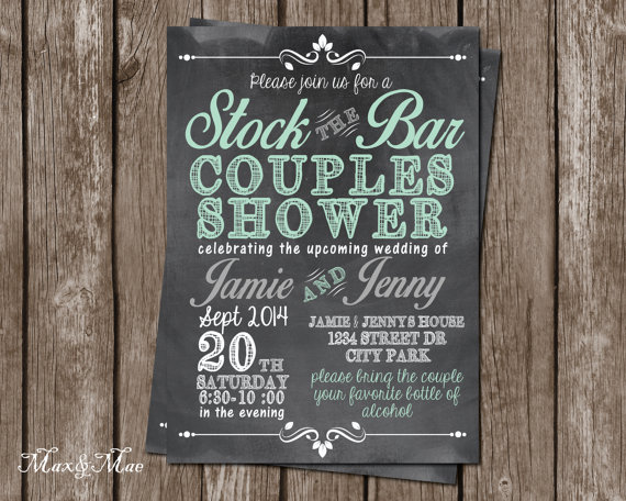 Stock The Bar Invitation Wedding Shower Invitation Couples Shower