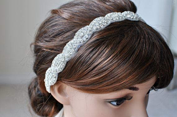 Свадьба - Wedding Hair Accessory, Beaded Headband, Bridal Headband, Crystal Ribbon Headband, rhinestone headband, hair accessories, wedding, bridal