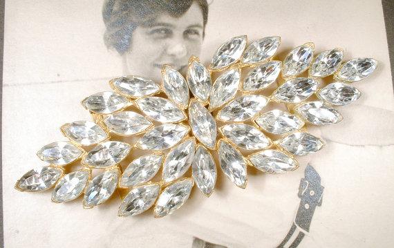 زفاف - Vintage Sash Buckle 1920s Marquise Rhinestone Gold Bridal Sash Belt, Large Pave Great Gatsby Wedding Art Deco Flapper Old Hollywood Glam
