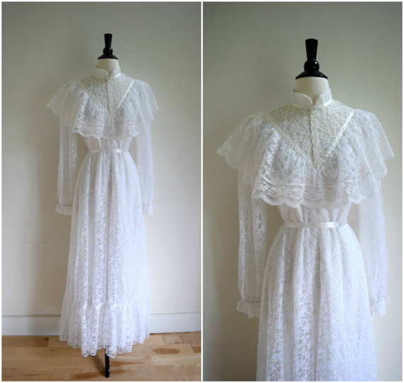 Vintage Victorian Style White Long Sleeved Wedding Gown / Retro High ...
