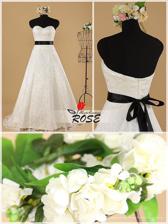 Mariage - A Line Strapless Sweetheart Lace Wedding Dresses with Waist Sash Style WD033