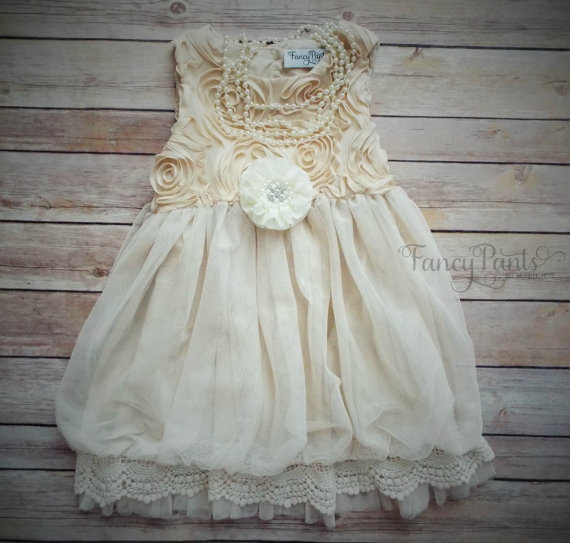 Wedding - Ivory Toddler  Dress,  Vintage Dress,  Flower girl dress, Beige Toddler Dress, Girls Dress, Rustic Wedding, Ivory Dress, Toddler Dress