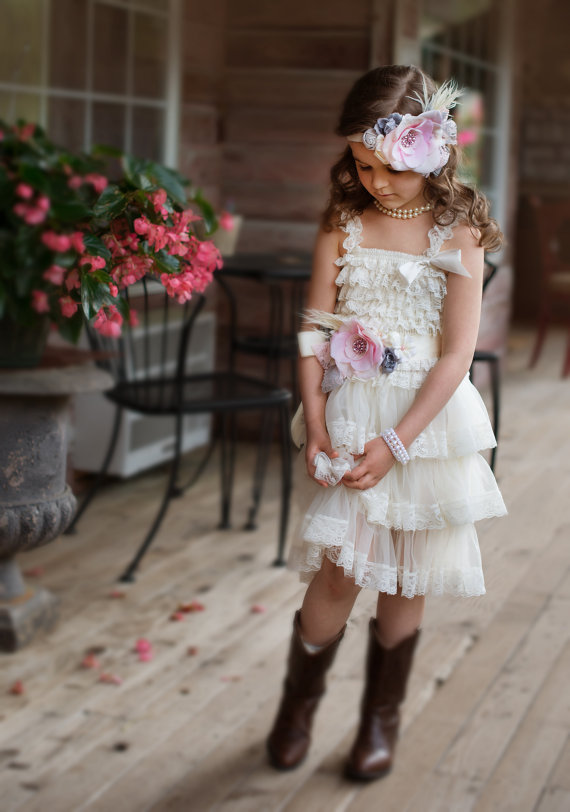 زفاف - FLOWER GIRL DRESS,  set 3 pcs ,wedding flower girl ,shabby chic headband, petti lace dress ,baby wedding full outfit,photo shoot clothing