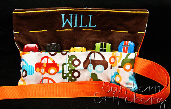 Wedding - Personalized Boys Car Roll Hotwheel Holder Matchbox Roll You choose fabric Great for Gifts Flower Girl Ring Bearer