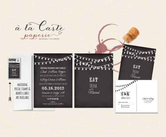 Wedding - String Light Chalkboard Inspired Wedding Invitation Card and RSVP