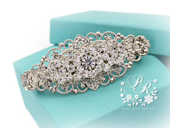 Hochzeit - Wedding Hair Clip Wedding Barrette Rhinestone Hair Clip Bridal Barrette Wedding Jewelry Wedding Accessory Bridal Jewelry Headpiece meteor