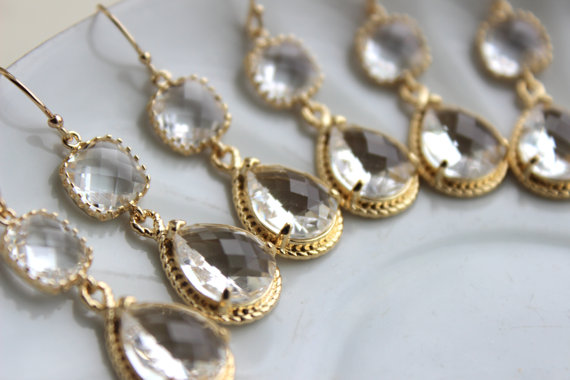 Wedding - 15% Off Set of 9 Wedding Jewelry Gold Crystal Clear Bridesmaid Earrings - Gold Bridal Bridesmaid Two Tier Crystal Earrings Gold Teardrop