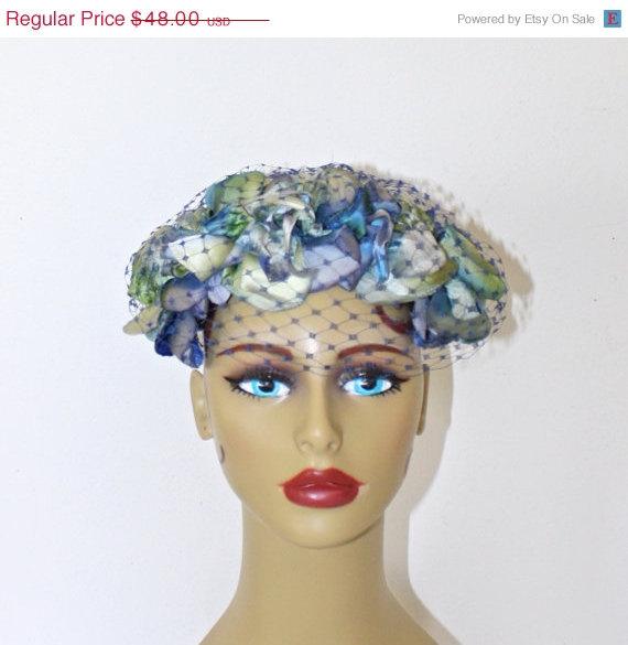 Wedding - 40% Off SALE Vintage 1950s Blue Floral Fascinator Hat . 50s Silk Flowers Headband Pillbox . Blue Velvet Ribbon Bow & Birdcage Netting Veil