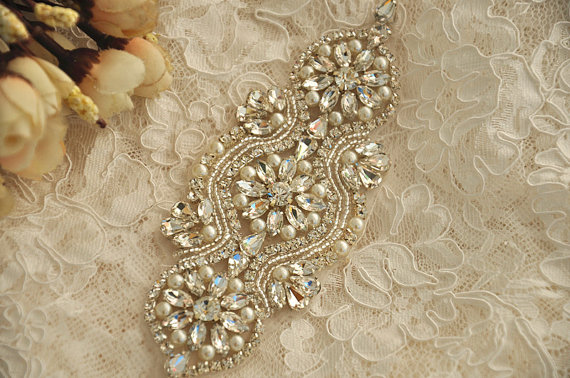 Wedding - Crystal and pearl beaded applique for bridal sash, wedding headband, garters,wedding gown belt