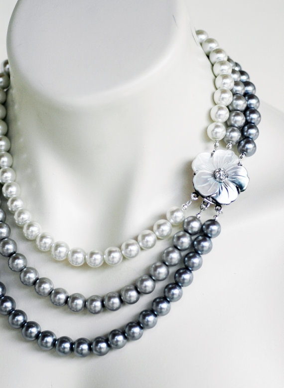 Wedding - Mother of Pearl Triple Strand White Silver Pewter Pearls Wedding Necklace Flower Motif Bridal Jewelry