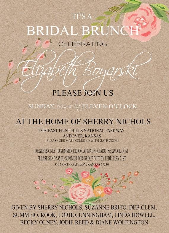 coral watercolor flowers kraft paper wedding shower invitation