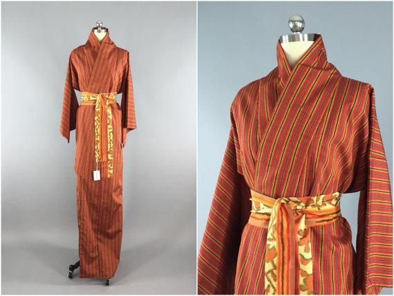 Свадьба - Vintage Kimono / Silk Kimono Robe / Dressing Gown / Long Robe / Wedding Lingerie / Downton Abbey / Art Deco Kimono / Orange Stripes