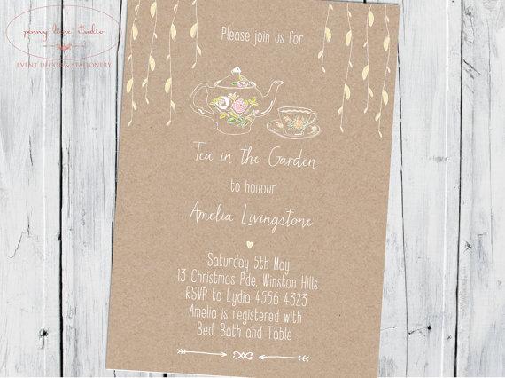 Hochzeit - Tea in the Garden Vintage Shower, Digital DIY Printable Invitation, Wedding Shower, Bridal Shower, Baby Shower.
