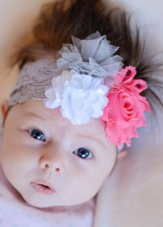 Düğün - Grey Elastic headband - Pink Shabby, White mesh pom, Grey Tulle Flower on a Grey Elastic Headband baby toddler child women teen wedding girl