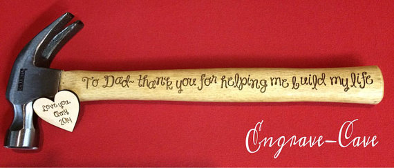 Свадьба - Engraved and Personalized Hammer with phrase, name, monogram for Dad Father of Bride Groom Groomsmen Valentine's Day Father's Day Grandpa