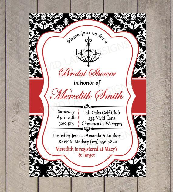 Bridal Shower Printable Invitation Chandelier Black White And Red