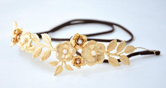 Свадьба - Jungle Hair Wreath, Belt, Fairy Accessory, Princess, Bridal Hair Accessory, Wedding Gold Leaf Headpiece, Greek Goddess Headband, Roman