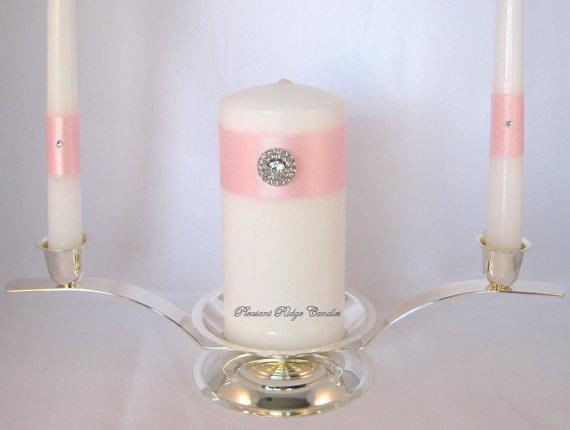 زفاف - Pink Unity Candle Bling Unity Candle White Unity Candle Rhinestone Unity Candle Catholic Wedding Candle Size Color Rhinestone Choice