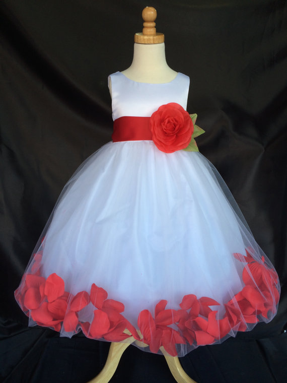 b496a7673 Flower Girl Dress - White Rose Petal Dress - Wedding