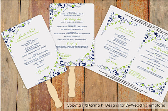Wedding - DiY Wedding Fan Program Template - DOWNLOAD Instantly - EDITABLE TEXT - Chic Bouquet (Navy Blue & Lime Green) 5 x 7 - Microsoft® Word Format