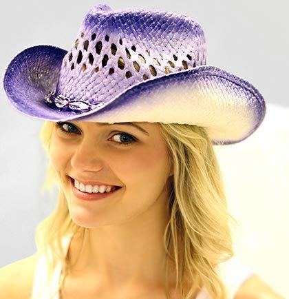 Wedding - Purple Straw Western Bride Hat with Veil