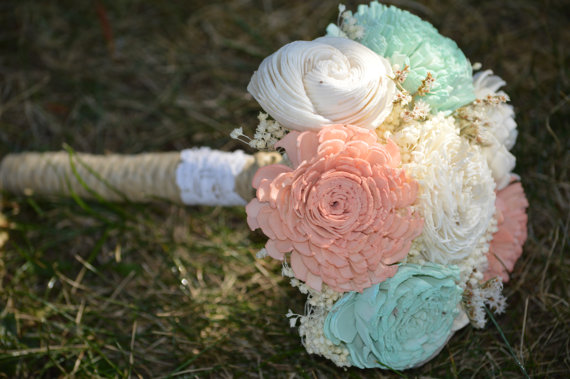 Mariage - Small Wedding Bouquet Ivory, Soft Mint and Lt. Coral Blush Sola Flowers and dried Flowers Toss Flower Girl Bridesmaid Keepsake