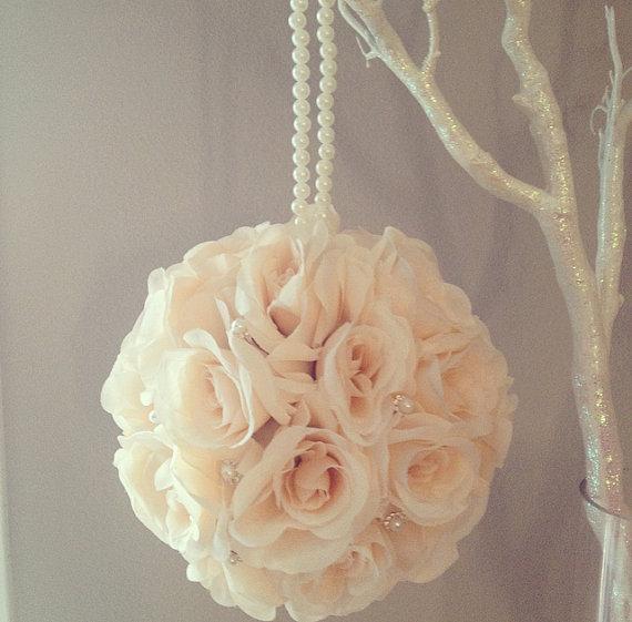 "Wedding - Premium silk Peach Blush flower ball, brooch & pearl handle WEDDING CENTERPIECE pomander kissing ball flower girl 7"" 8"" 10"" 12 14"" 16"" 18"""