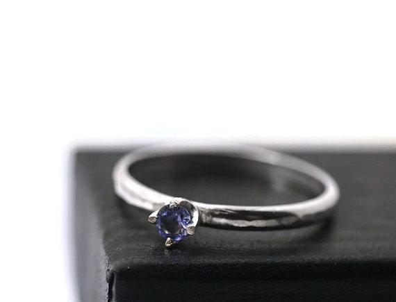 Mariage - Tanzanite Ring, Violet Gemstone Ring, Simple Engagement Ring, 3mm Gemstone Ring