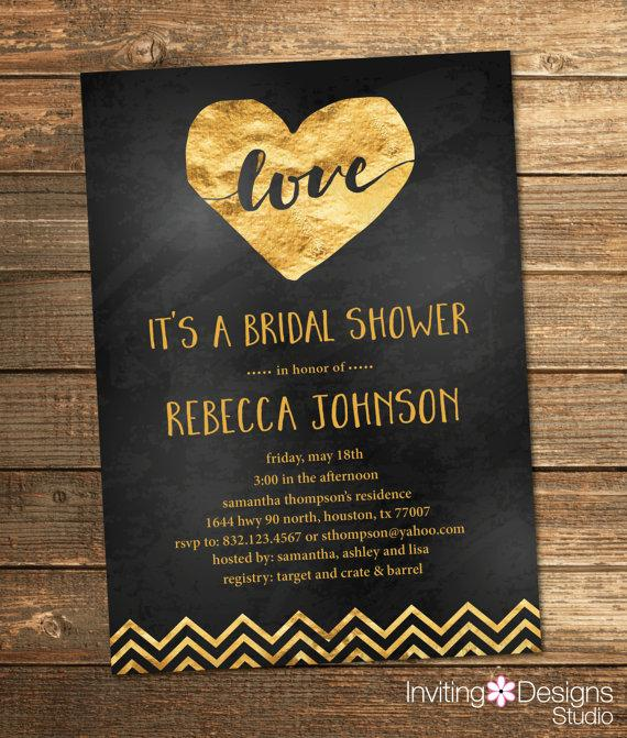 Gold and black bridal shower invitation gold foil love chevron gold and black bridal shower invitation gold foil love chevron chalkboard chalk heart wedding shower invite printable file filmwisefo