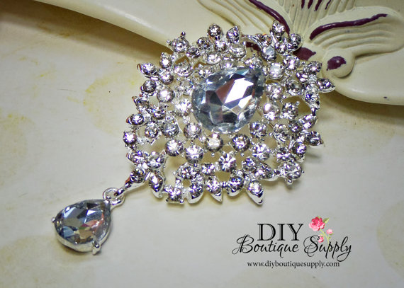 Wedding - Crystal Wedding Brooch - Rhinestone Brooch Pin - Dangle Brooch Wedding Bridal Accessories Sash Pin Cake brooch 65mm 685198