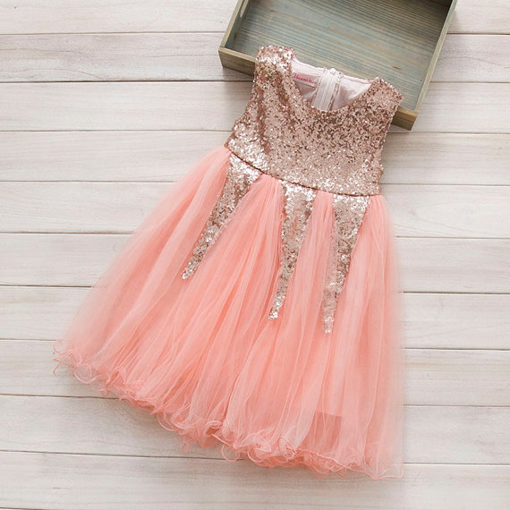 Свадьба - Glitter Girl Dress,  flower girls dress,Pink dress, sequins princess tutu dress,  Tulle girls dress, Girls Party dress, baby dress