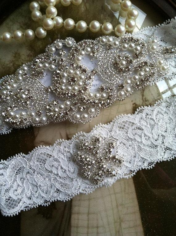 زفاف - Wedding Garter-Garters-Bridal White-Garter-Rhinestone-Pearl garter-Keepsake-Ivory-Lace Garter Set-bridal white-off-white