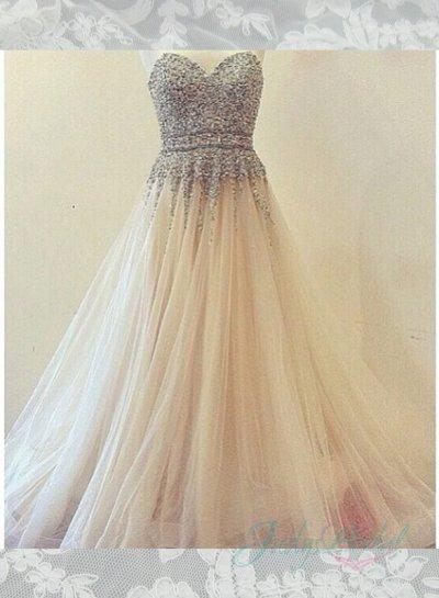 Sparkles Sequins Bodice Layers Tulle Ball Gown Wedding Dress