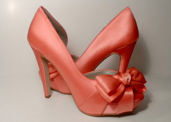 Coral Bow Front Four Inch Platform Heels, Silk Wedding Shoes