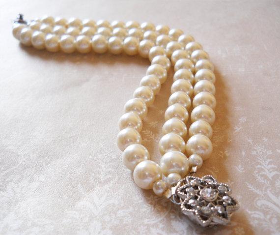 Vintage Style Wedding Bracelet Rhinestone Pearl Bracelet Elegant