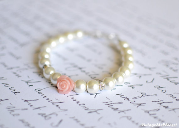 Childrens Jewelry Ivory Pearl Bracelet White Flower Gift Infant Baby Toddler Wedding Accessories