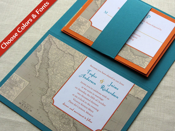 Wedding - Mexican Map Wedding Invitation - Mexico Vintage Map Destination Booklet - Custom Colors